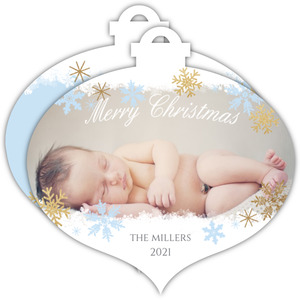 Blue Snowflake Ornament Birth Announcement