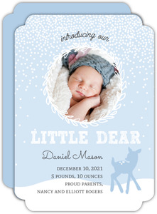 Blue Baby Deer Winter Birth Announcement