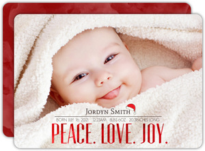 Peace Love Joy Red Foil Birth Announcement