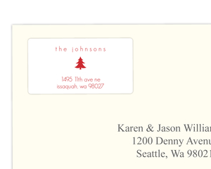 Festive Little Red Christmas Tree Address Label