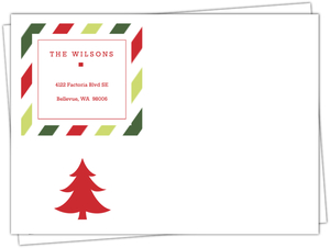 Classic Holiday Red and Green Stripes Envelope