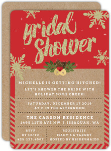 Kraft And Glitter Bridal Shower Invitation