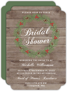 Country Christmas Wreath Bridal Shower Invitation