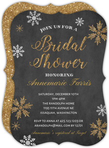Gold Faux Glitter Snowflake Bridal Shower Invitation