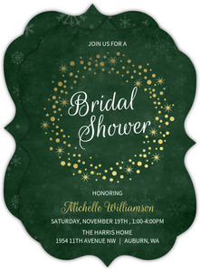 Evergreen Gold Foil Wreath Bridal Shower Invitation
