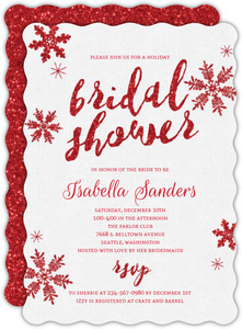 Sparkling Red Snowflakes Bridal Shower Invitation