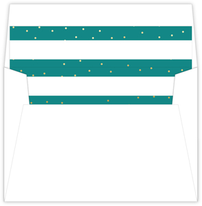 Turquoise Faux Gold Dots Holiday Liner