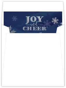 Faux Glitter Silver Snowflakes Navy Envelope Liner