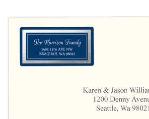 Elegant Faux Silver Border Navy Address Label