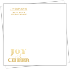Sparkling Faux Gold Foil Joy and Cheer Address Label