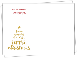 Merry Little Christmas Faux Gold Tree Envelope