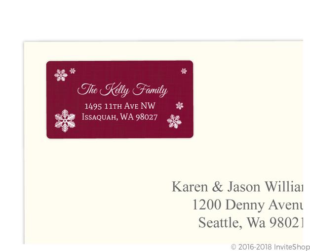 burgundy snowflake red address label address labels