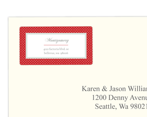 Dotted Red Monogram Address Label
