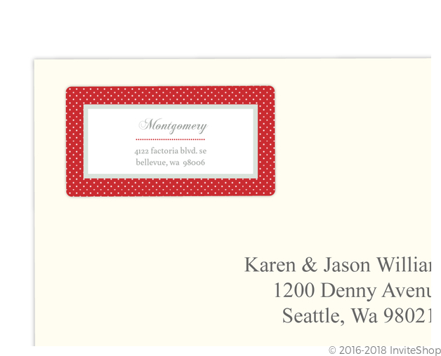 dotted red monogram address label address labels