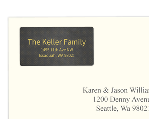 Faux Gold and Black Dotted Address Label