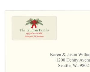 Classic Pinecone and Poinsettia Address Label