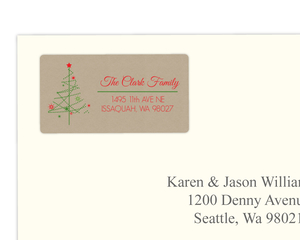 Kraft Festive Simple Christmas Tree Address Label