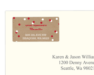 Red and White Kraft Polka Dot Confetti Address Label