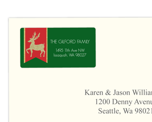 Festive Gold Faux Glitter Reindeer Banner Address Label
