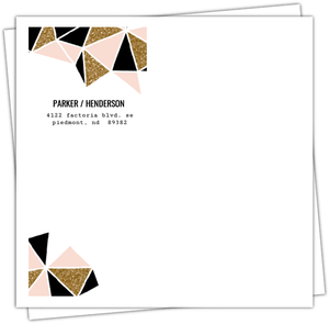 Geometric Faux Glitter Pink Black and Gold Envelope