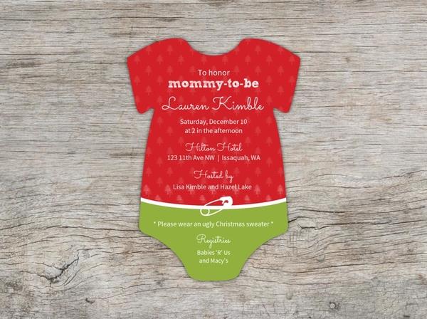 3becc857e Christmas Ugly Sweater Baby Shower Invitation