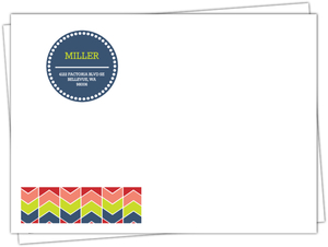Colorful Monogram Chevron Pattern Envelope