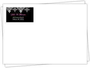 Elegant Flourish Black and Pink Envelope