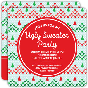 Knitted Ugly Christmas Sweater Party Invitation