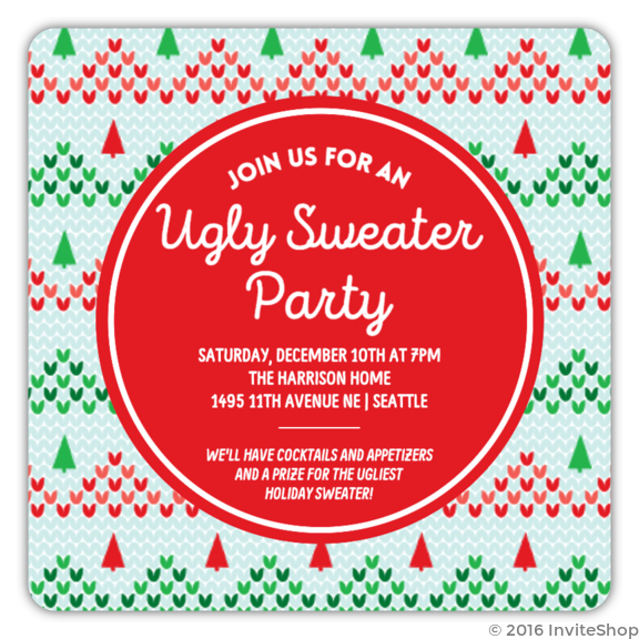 knitted ugly christmas sweater party invitation - Ugly Christmas Sweater Invitations