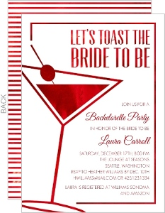 Faux Red Foil Cocktail Bachelorette Party Invitation