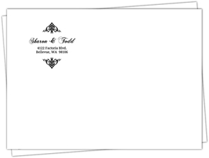 Elegant Black and White Monogram Flourish Envelope