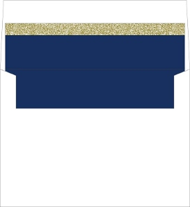 Formal Navy and Gold Faux Glitter Envelope Liner