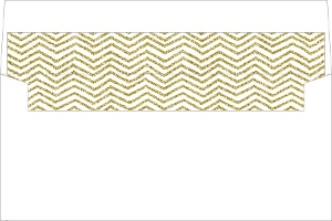 Chevron Pattern Faux Gold Glitter Envelope Liner