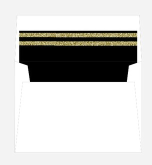 Black and Faux Gold Glitter Striped Envelope Liner