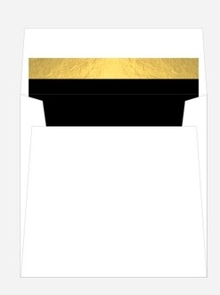 Faux Gold Foiled Top Border Black Envelope Liner