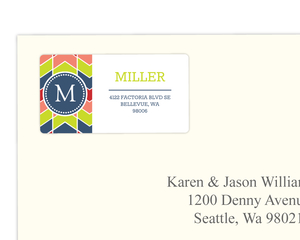 Colorful Chevron Monogram Address Label