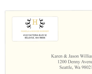 Elegant Monogram Swirl Address Label