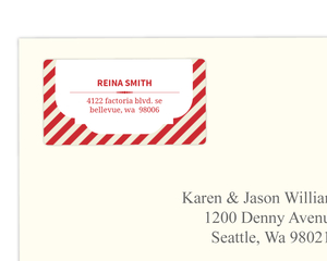 Elegant Red and Tan Striped Address Label