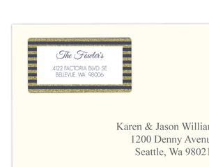 Blue and Faux Gold Glitter Stripes Address Label
