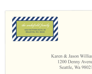 Navy Blue and Green Striped Address Label
