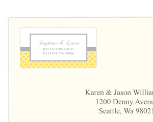 Cute Grey and Yellow Pattern Address Label