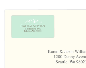 Mint and White Flourish Address Label