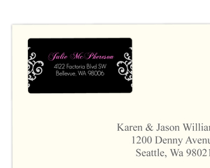 Black White and Pink Ornamental Flourish Address label