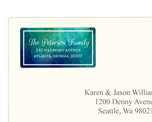 Dark Blue and Green Watercolor Address Label