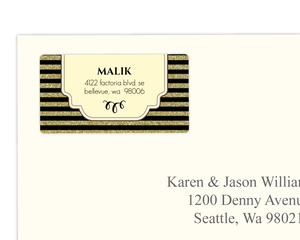 Art Deco Faux Gold Glitter Black Address Label