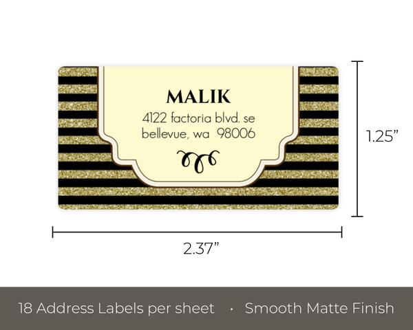 art deco faux gold glitter black address label address labels
