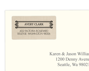 Elegant Tan and Black Border Address Label