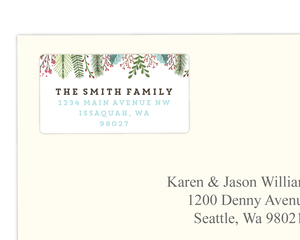 Black and Blue Damask Pattern Address Label