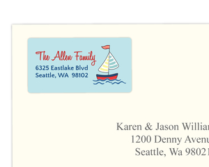 Baby Sailing Ship Address Label