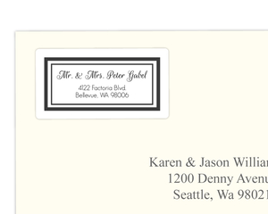 Simple Black Double Border Framed Address Label